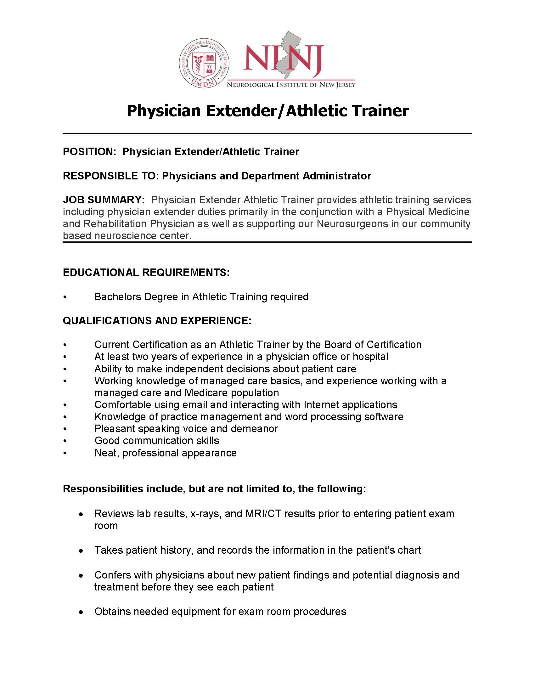 Athletic training today jobs athletic trainer in a physician practice new jersey 1betcityfo Choice Image